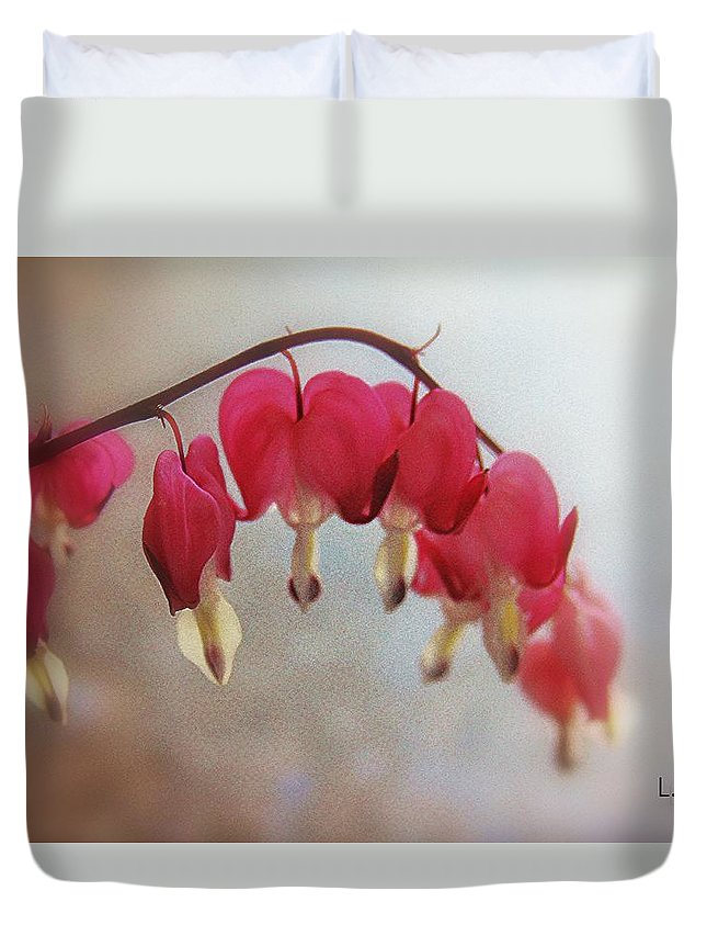Botanical Duvet Cover featuring the photograph The Bleeding Heart by Lori Mahaffey