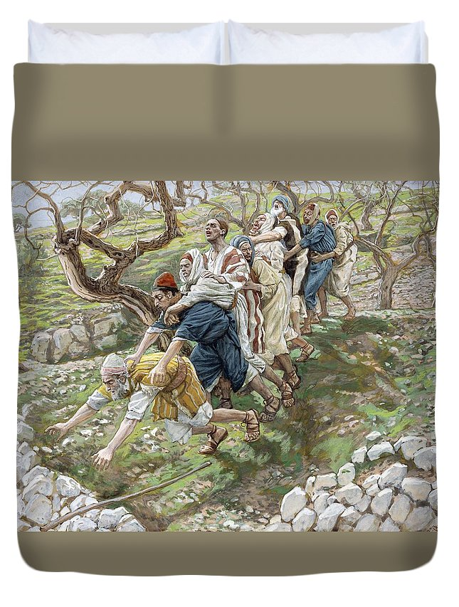 Sight Duvet Cover featuring the painting The Blind Leading The Blind by Tissot