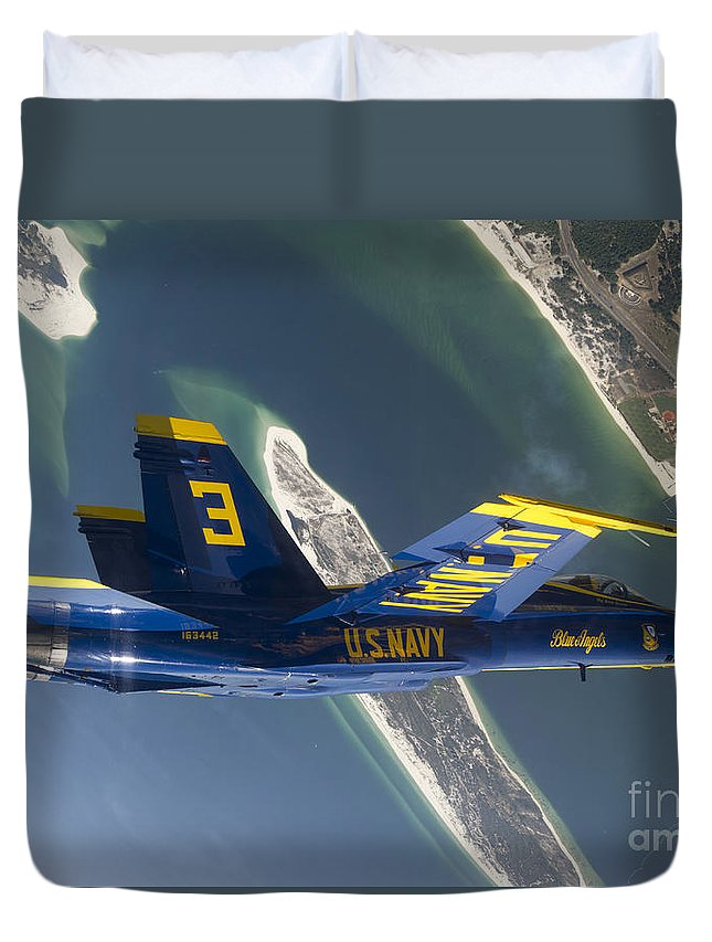 Blue Angels Duvet Cover featuring the photograph The Blue Angels Perform A Looping by Stocktrek Images