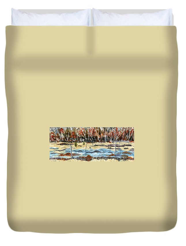 Landscape Duvet Cover featuring the painting The Blue Bog by Mary Tuomi