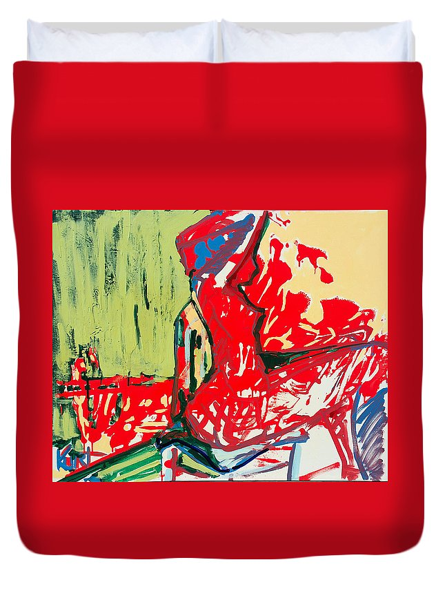 Woman Duvet Cover featuring the painting The Blue Chair by Kurt Hausmann