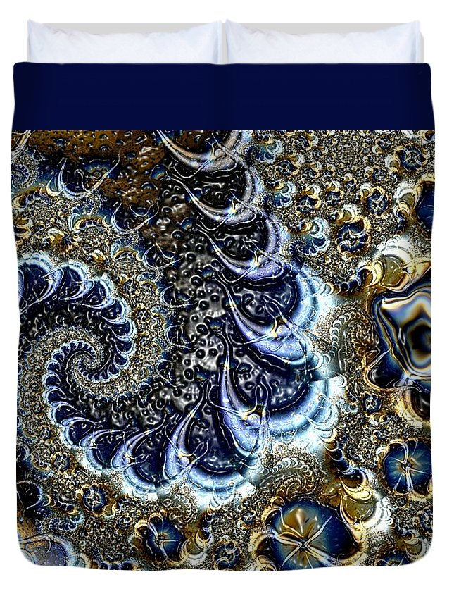 Fractal Diamonds Blue Jewel Dance River Duvet Cover featuring the digital art The Blue Diamonds by Veronica Jackson