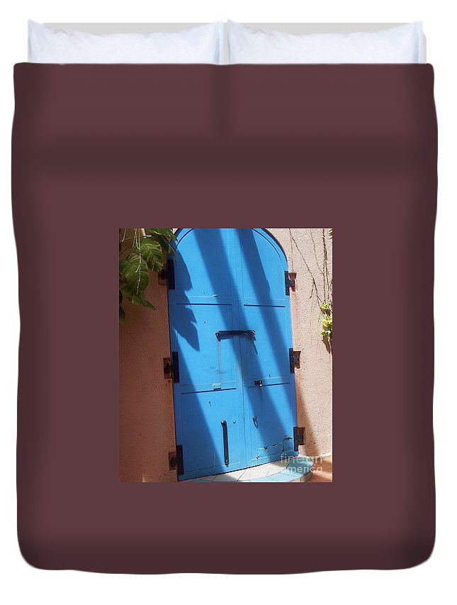 Architecture Duvet Cover featuring the photograph The Blue Door by Debbi Granruth