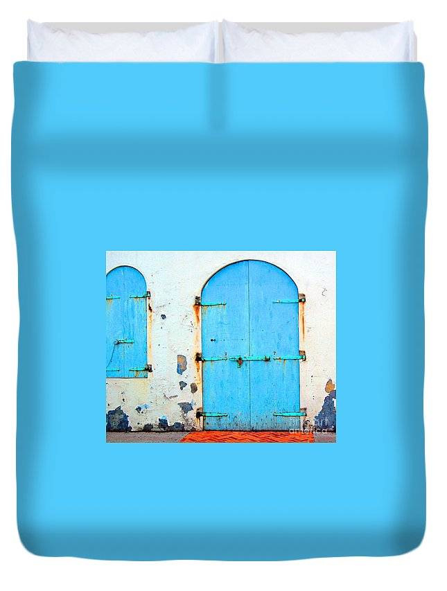 Door Duvet Cover featuring the photograph The Blue Door Shutters by Debbi Granruth