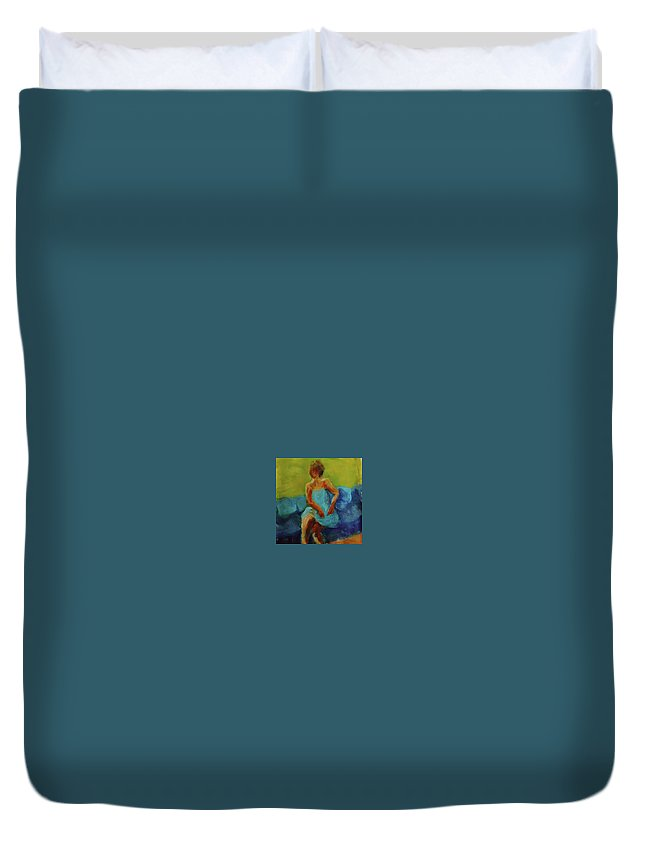 Art Duvet Cover featuring the painting The Blue Dress by Katherine Cobb