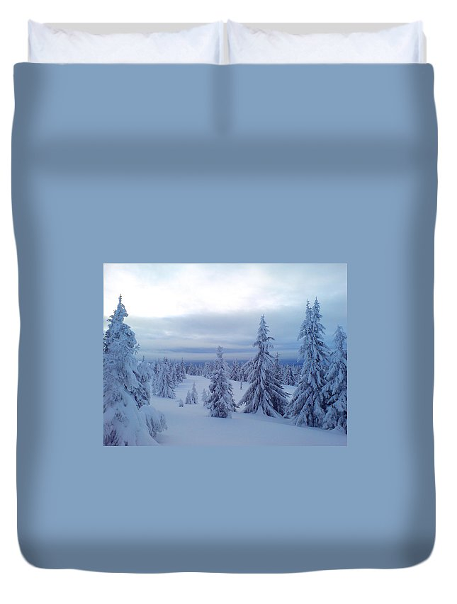 Trees Duvet Cover featuring the photograph The Blue Hour by Are Lund
