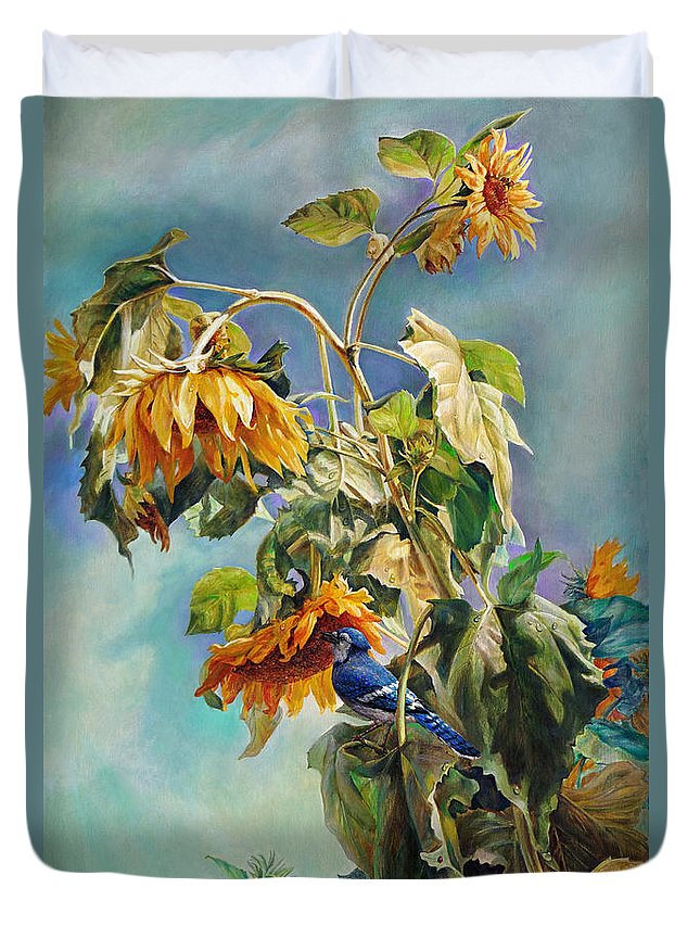 Sunflower Duvet Cover featuring the painting The Blue Jay Who Came To Breakfast by Svitozar Nenyuk