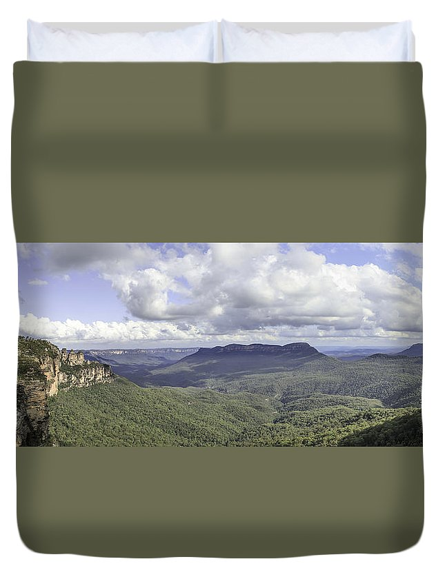 The Blue Mountains Duvet Cover featuring the photograph The Blue Mountains by Chris Cousins