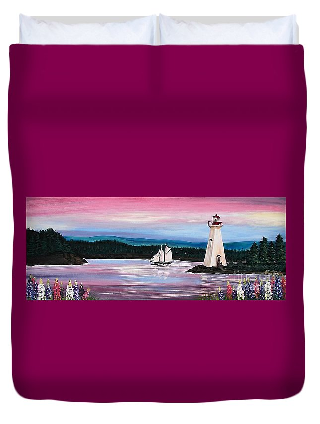 Sailing Duvet Cover featuring the painting The Blue Nose II At Baddeck Nova Scotia by Patricia L Davidson