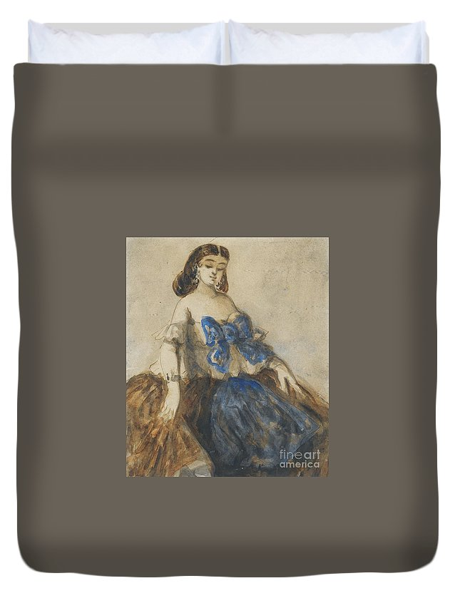 Constantin Guys ; The Blue Ribbon Duvet Cover featuring the painting The Blue Ribbon by Celestial Images