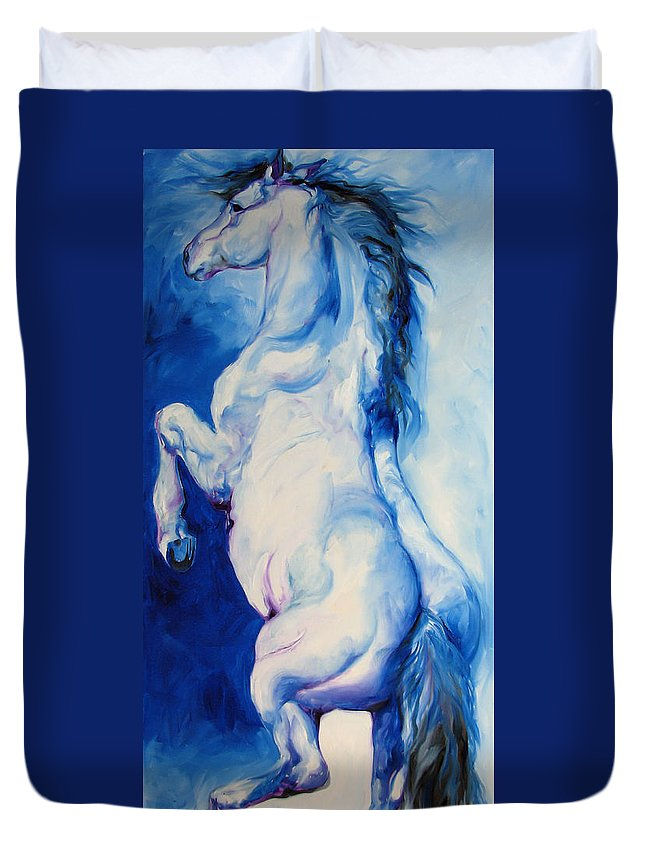 Horse Duvet Cover featuring the painting The Blue Roan by Marcia Baldwin