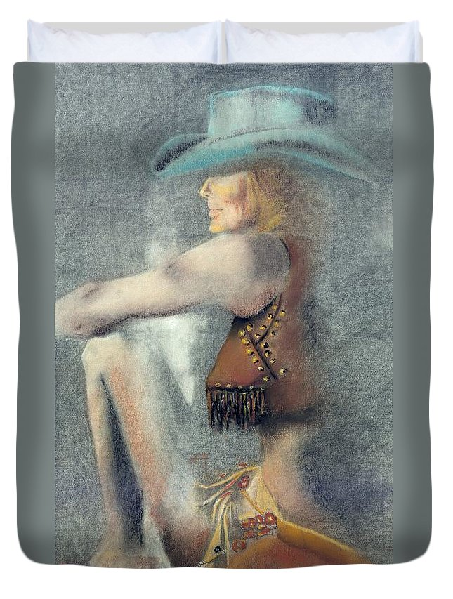 Cowgirls Duvet Cover featuring the drawing The Blue Stetson by Frances Marino