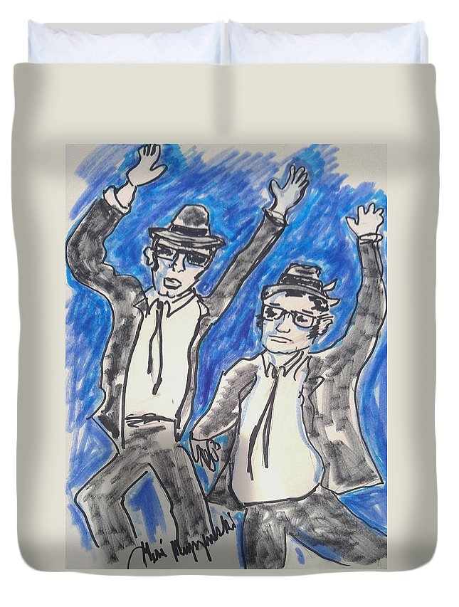 Blues Brothers Duvet Cover featuring the painting The Blues Brothers by Geraldine Myszenski
