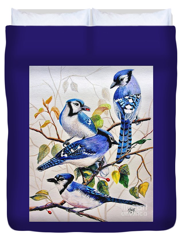 Bluejays Duvet Cover featuring the drawing The Blues by Marilyn Smith
