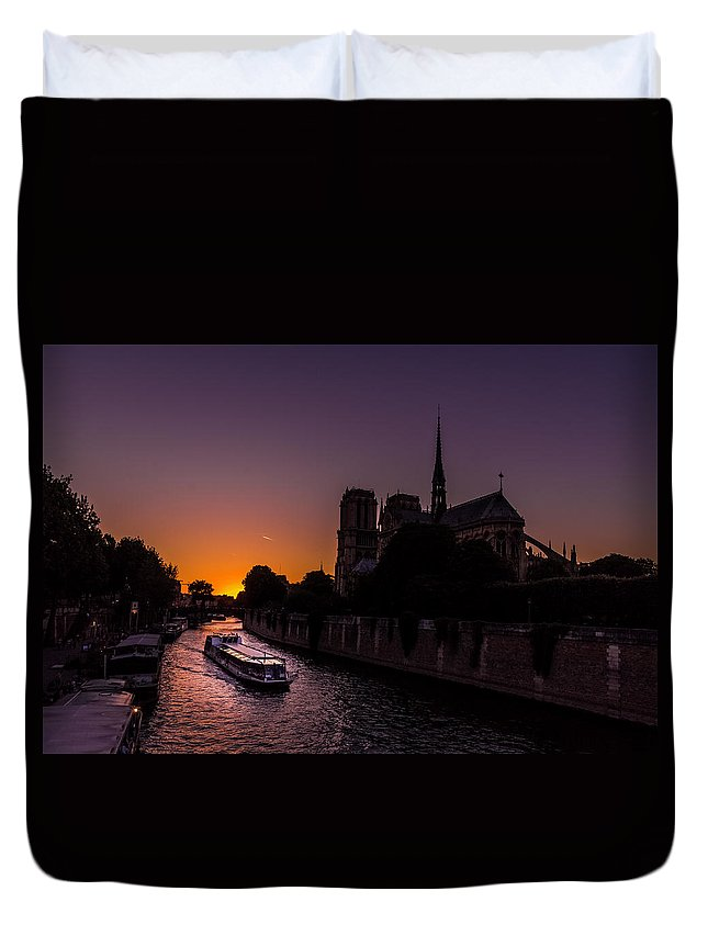 Paris Duvet Cover featuring the photograph The Boat by Ricardo Lopes