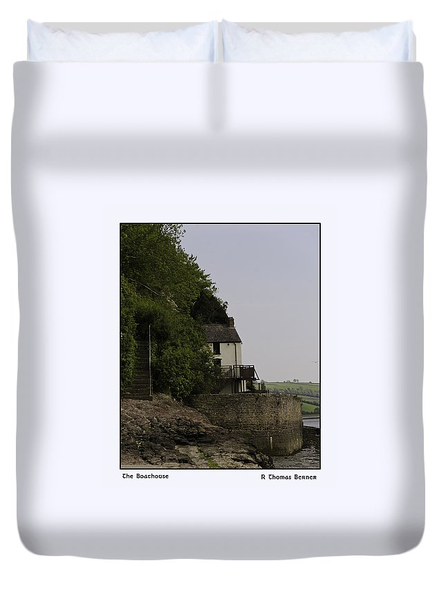 Duvet Cover featuring the photograph The Boathouse by R Thomas Berner