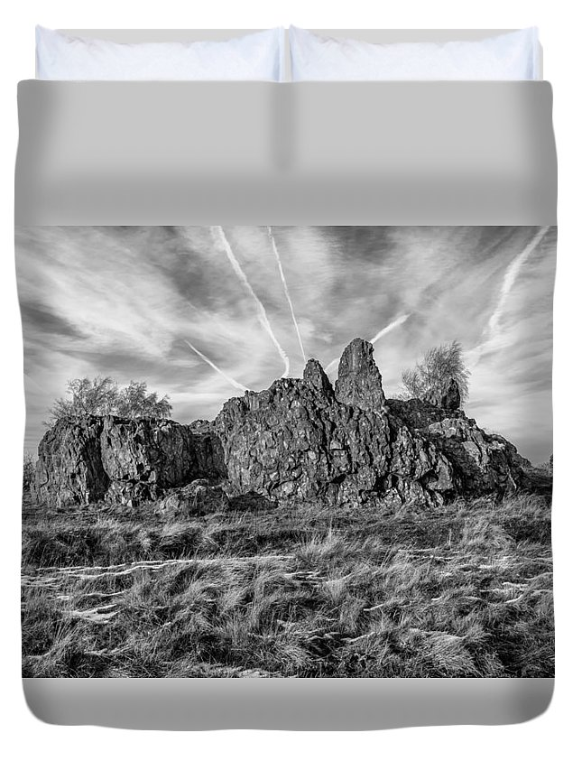 Bomb Rocks Duvet Cover featuring the photograph The Bomb Rocks by Nick Bywater
