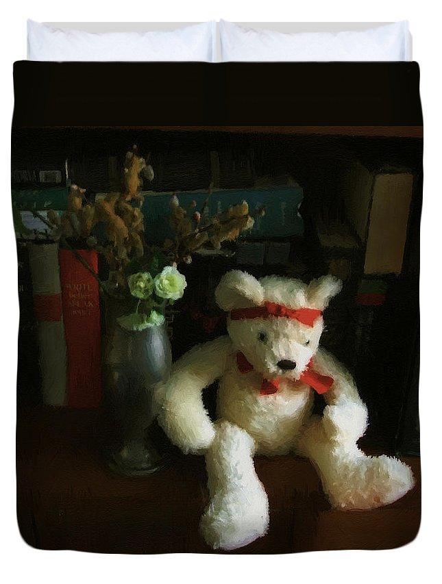 Bear Duvet Cover featuring the digital art The Book Bear by RC DeWinter