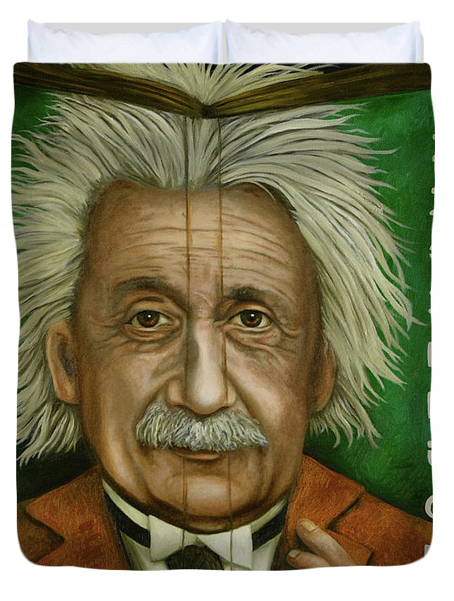 Einstein Duvet Cover featuring the painting The Book Of Knowledge by Leah Saulnier The Painting Maniac