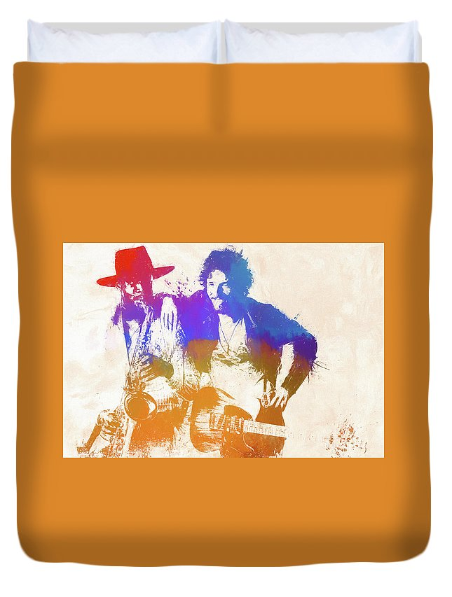 Bruce And The Big Man Duvet Cover featuring the painting The Boss And The Big Man by Dan Sproul