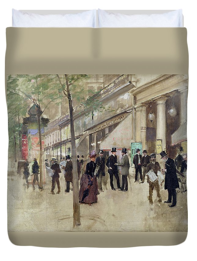 The Boulevard Montmartre And The Theatre Des Varietes Duvet Cover featuring the painting The Boulevard Montmartre And The Theatre Des Varietes by Jean Beraud