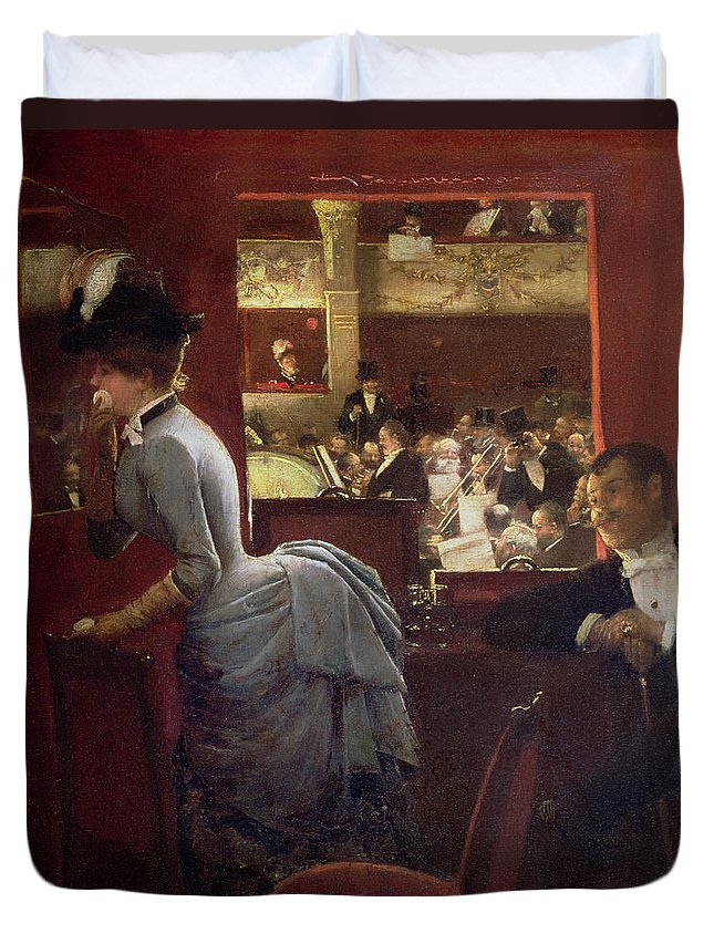 The Box By The Stalls Duvet Cover featuring the painting The Box By The Stalls by Jean Beraud