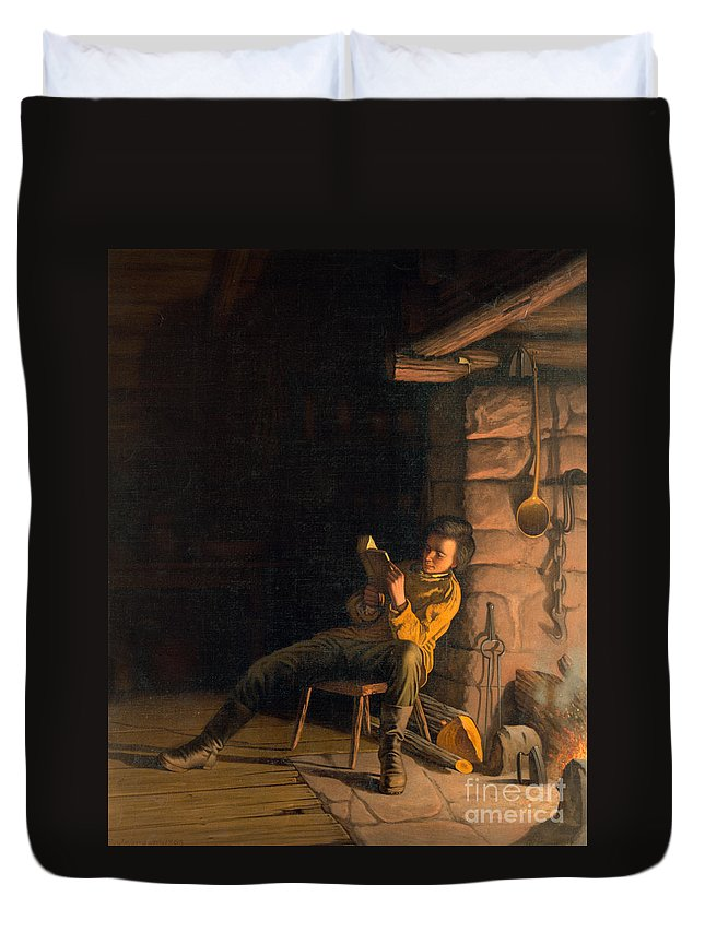 19th Century Duvet Cover featuring the painting The Boyhood Of Lincoln by Granger