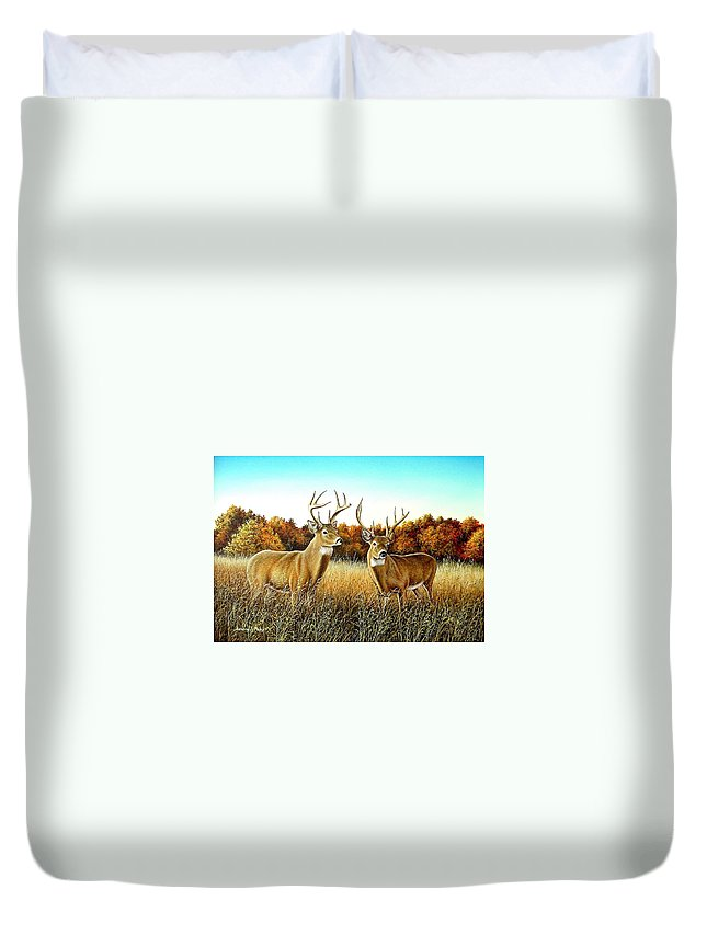 Deer Duvet Cover featuring the painting The Boys by Anthony J Padgett