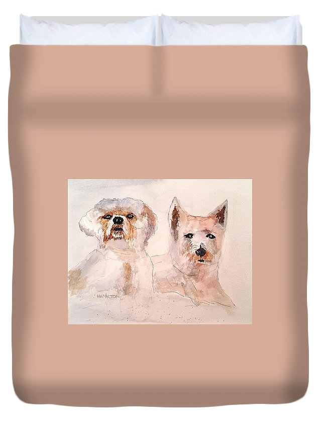 Puppies Duvet Cover featuring the painting The Boys by Larry Hamilton