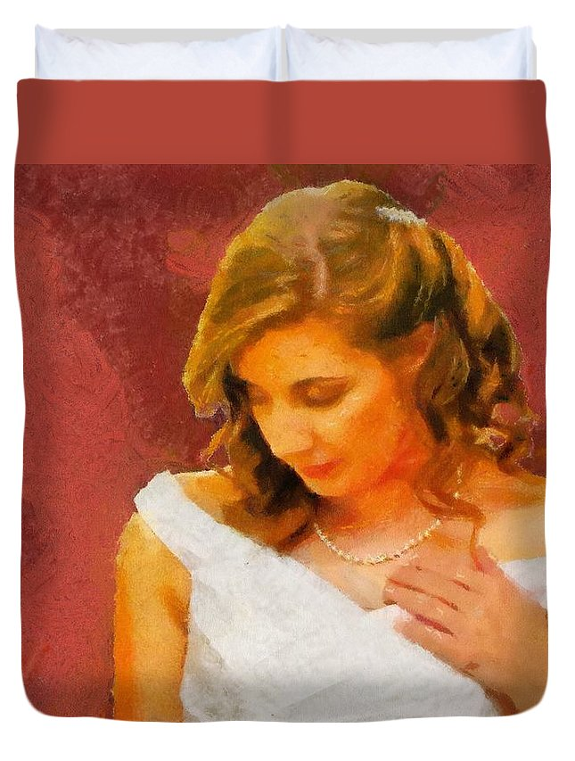 Wedding Duvet Cover featuring the painting The Bride To Be by Jeffrey Kolker