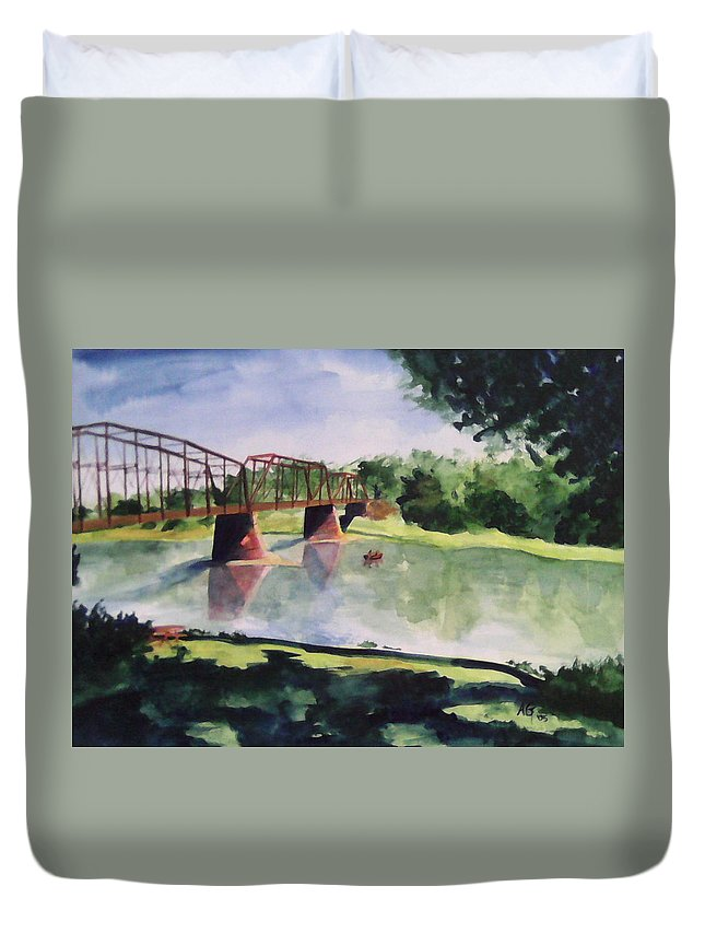 Bridge Duvet Cover featuring the painting The Bridge At Ft. Benton by Andrew Gillette