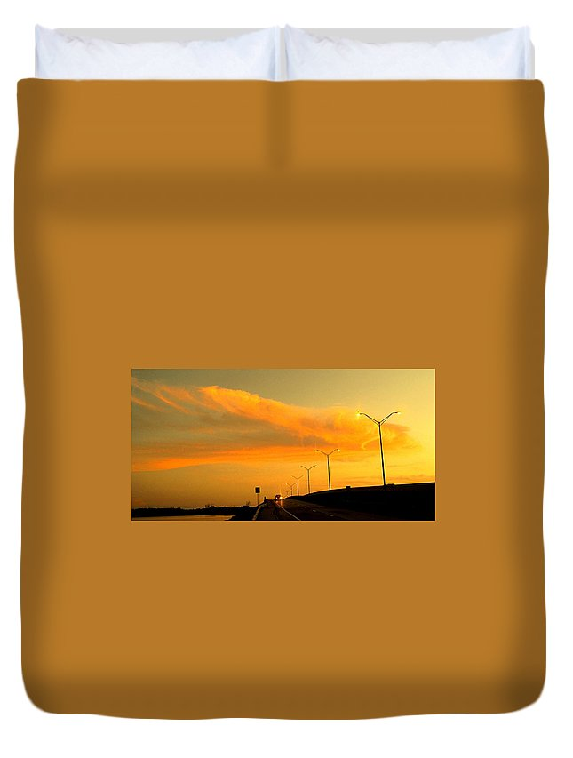 Sunset Duvet Cover featuring the photograph The Bridge At Sunset by Ian MacDonald
