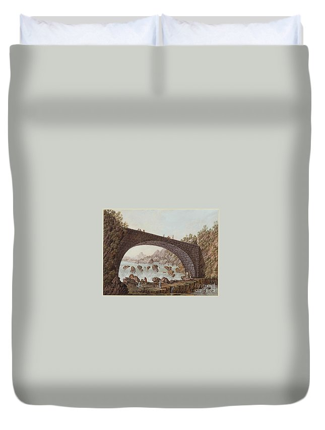 English School (late 18th Century) - The Bridge At The Border Between France And Savoy Duvet Cover featuring the painting The Bridge At The Border Between France And Savoy by MotionAge Designs