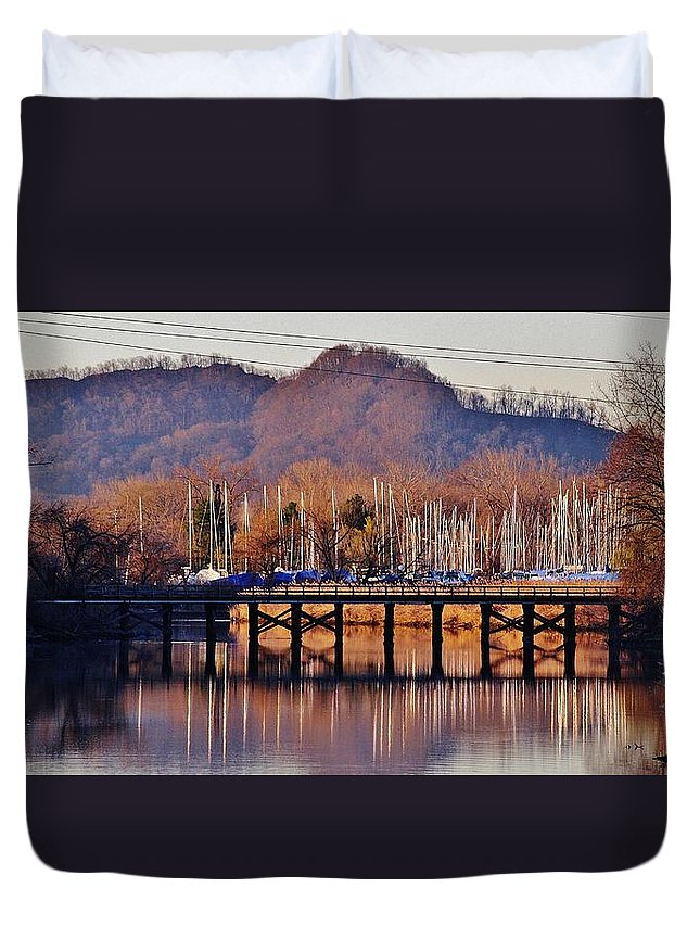 Hudson Valley Landscapes Duvet Cover featuring the photograph The Bridge by Thomas McGuire