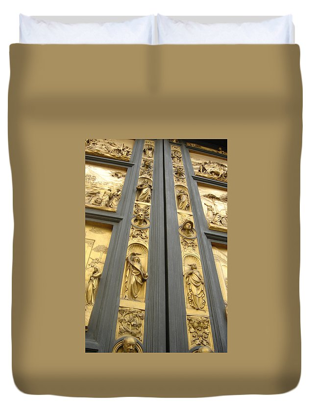 Florence Duvet Cover featuring the painting The Bronze Doors by Joe Geare