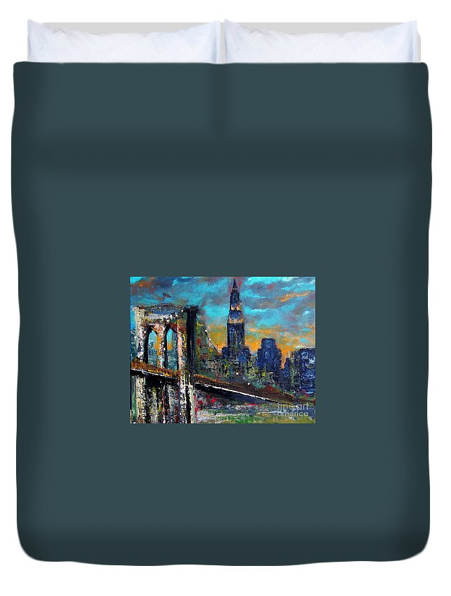 Bridges Duvet Cover featuring the painting The Brooklyn Bridge by Frances Marino