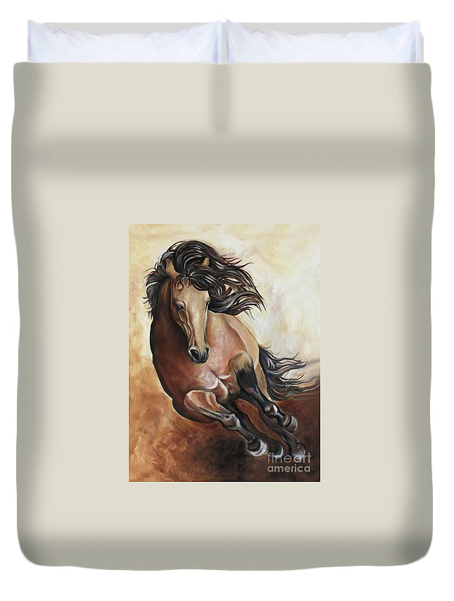 Horse Duvet Cover featuring the painting The Buckskin Gallop by Debbie Hart
