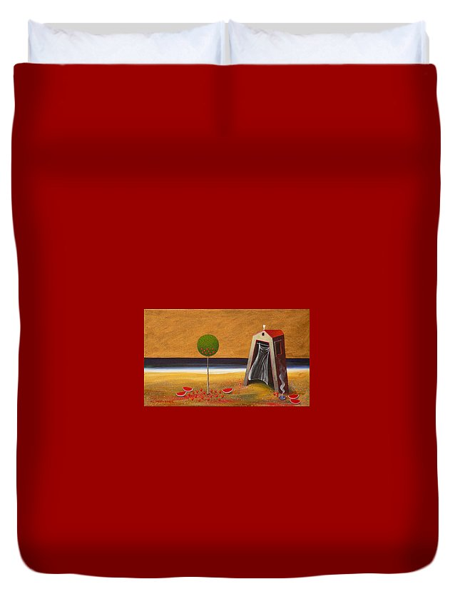 Astronomy Duvet Cover featuring the painting the Buff House by Dimitris Milionis