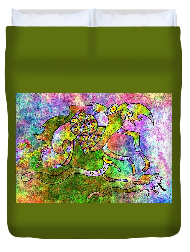 Bugs Color Texture Abstract Fun Duvet Cover featuring the digital art The Bugs by Veronica Jackson