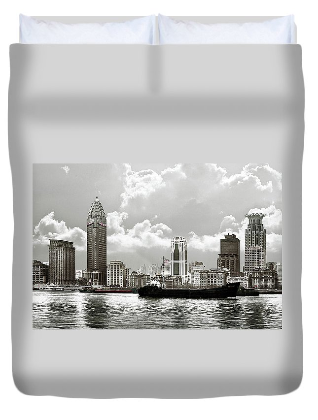 Bund Duvet Cover featuring the photograph The Bund - Old Shanghai China - A Museum Of International Architecture by Christine Till