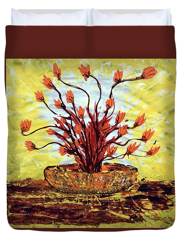 Red Bush Duvet Cover featuring the painting The Burning Bush by J R Seymour