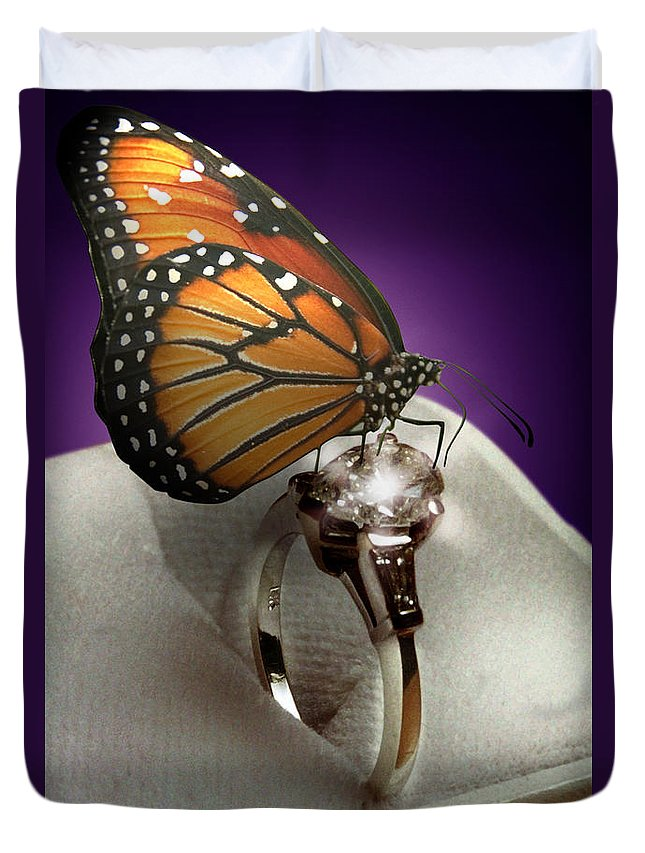Fantasy Duvet Cover featuring the photograph The Butterfly And The Engagement Ring by Yuri Lev