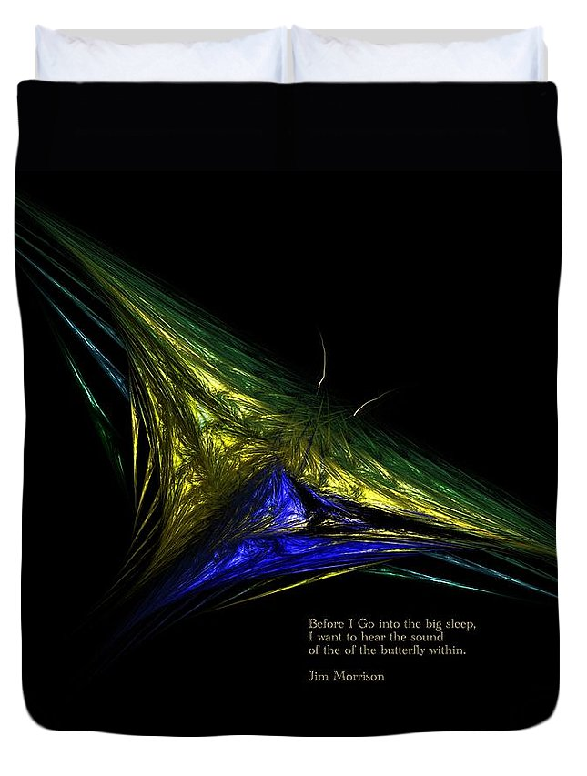 Abstract Digital Painting Duvet Cover featuring the digital art The Butterfly Within by David Lane