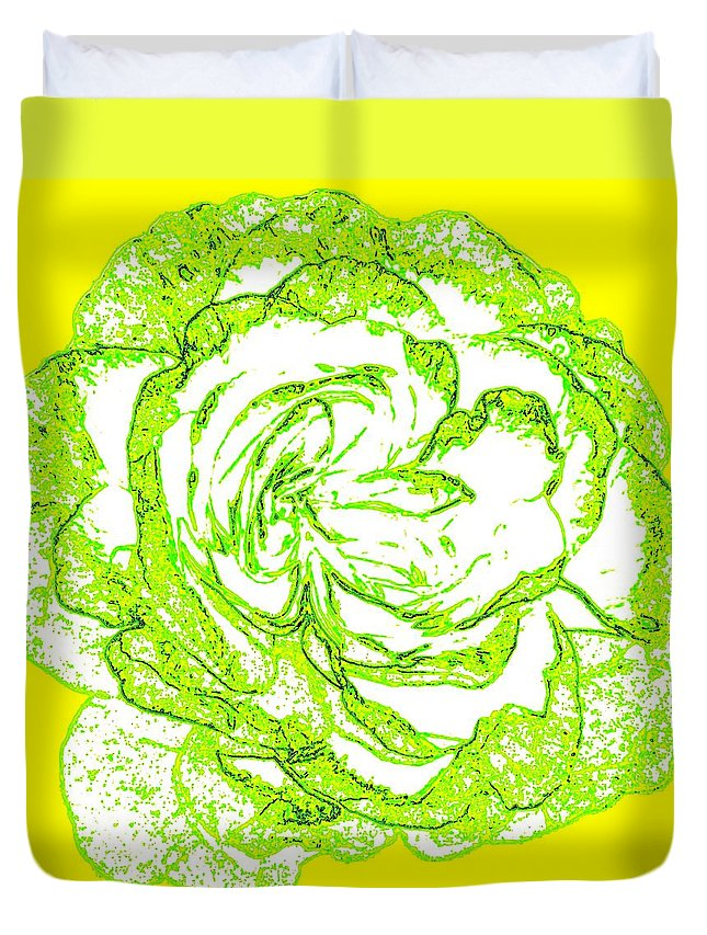 Abstract Duvet Cover featuring the digital art The Cabbage Rose by Will Borden
