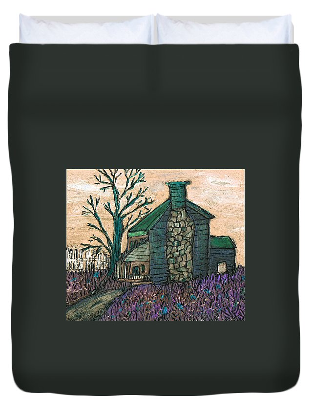 Cabin Duvet Cover featuring the painting The Cabin 2 by Wayne Potrafka