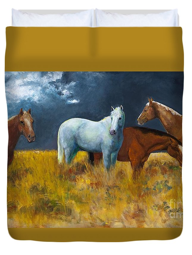 Horses Duvet Cover featuring the painting The Calm After The Storm by Frances Marino
