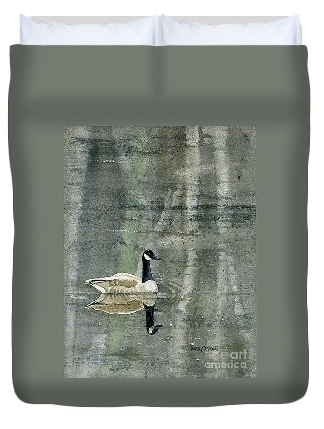 Canada Duvet Cover featuring the painting The Canadian Goose by Mary Tuomi