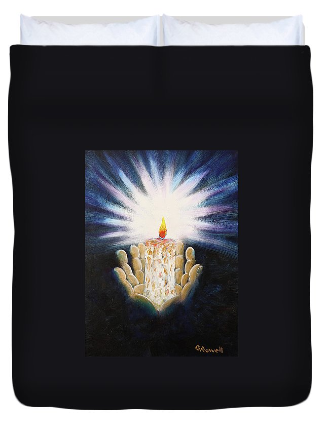 Purple Duvet Cover featuring the painting The Candle Of The Lord by Gary Rowell