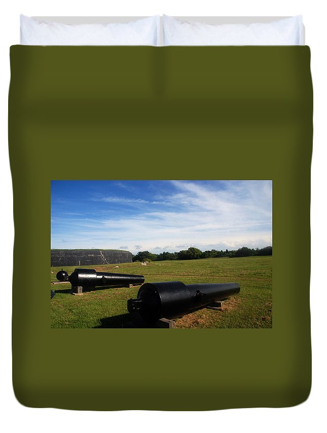 Photography Duvet Cover featuring the photograph The Cannons At Fort Moultrie In Charleston by Susanne Van Hulst