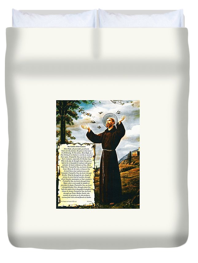The Canticle Of The Creatures By St. Francis Of Assisi Duvet Cover featuring the painting The Canticle Of The Creatures By St. Francis Of Assisi by Desiderata Gallery